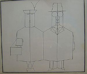 Saul Steinberg - Mr. & Mrs. - Black & White Print